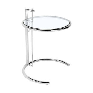 Eilee/n Grey Adjustable Side Table Liftable 24.5cm Coffee Table Stainless Frame