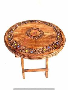 Wooden Coffee Table Patio Garden and Outdoor Furniture Round Folding Table Brown