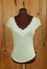 PER UNA green ivory lace trim beaded v neck short sleeve tunic t-shirt top 14 42