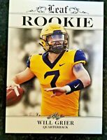 WILL GRIER 2019 LEAF EXCLUSIVE ROOKIE CARD! WEST VIRGINIA/CAROLINA PANTHERS