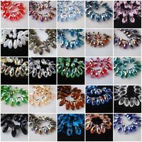 10pcs Teardrop Glass Crystal Spacer Beads Jewelry Making Pendant 8x16mm Charms