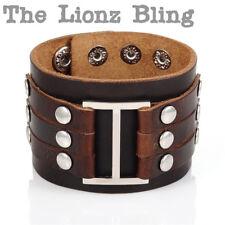 Urban Vintage style Wide Band Genuine Brown Leather & Silver Rivet Bracelet