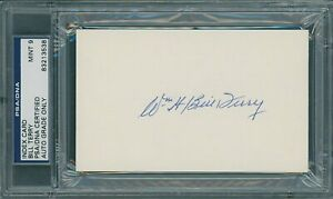 BILL TERRY SIGNED 3 X 5 INDEX CARD / PSA/DNA MINT 9 / HOF 1954 N.Y. GIANTS
