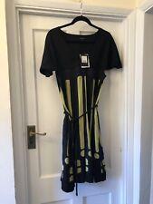New Jaeger Black & Green Contrast V-Neck 100% Silk Cape Design Tunic Dress,14