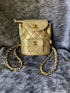 Authentic Vintage CHANEL Mini Duma Gold Backpack