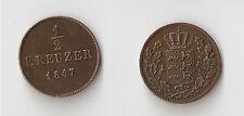 GERMANY , WURTTEMBERG 1/2 kreuzer 1847 High grade!!!