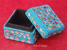 Boite Coffret Kitch Bijoux 5x5x4cm Artisanat Inde Turquoise
