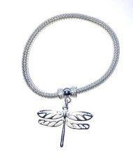 Pulsera de malla de plata Elástico & Lindo encanto Dragonfly