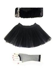 Black Tutu Skirt Legwarmers Fishnet Gloves Halloween