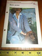 Vtg 1985 WOMAN'S BASIC JACKET QUICK ' N EASY CROCHETING PATTERN 4 PG