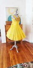 Vintage 50s Dress Cocktail Party Yellow Full Skirt Ruched Shelf Bust Sequin XS