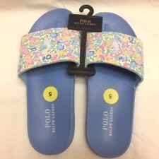 NEW Sz 5  Womens Ralph Lauren POLO Slide Sandal Shoes Blue/Floral Summer Time