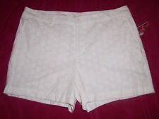 L SHORTS WOMENS VIRGIN WHITE EYELET WALKING LG 12 DRESSY CAREER WORK CHINO LINED