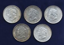 """COLOMBIA REPUBLIC 1892  50 CENTAVOS SILVER COINS """"COLUMBUS"""" LOT OF (5), XF to AU"""
