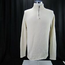 Ralph Lauren Men White Quarter Zip Cable knit Sweater Size Large 100% Cotton