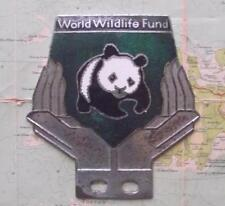 More details for old chrome enamel vintage car mascot badge : wwf world wildlife fund panda (h)