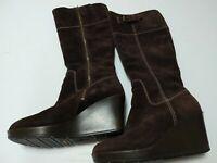 Cole Haan WM SZ 8 B Dark Brown Knee Tall  Boots Suede Wedge Heel Zip Buckle