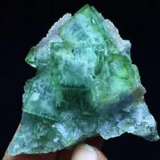 New Listing55g Extreme Transparent Green Chamfered Cubes Fluorite & Quartz Mineral Specimen
