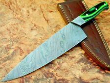 Damascus Knife Custom Handmade - 12.5'' Beautiful Micarta Handle Chef Knife