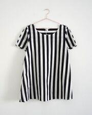 HOF115: COS Top bluse baumwolle streifen / A-line cotton top striped raw edge XS