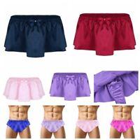 Men Sissy Lingerie Briefs G String Thong Pouch Panties Skirted Underwear Bikini