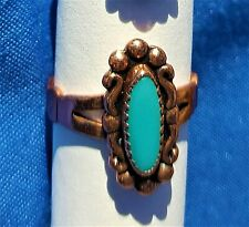 Hand Crafted Copper Ring~GORGEOUS ELEGANT Turquiose~Copper Healing Effects~NICE