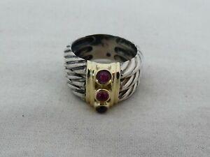 Estate David Yurman 14K Gold, Sterling Silver & Garnet Size 7.5 Ring JW-13