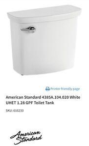 American Standard 4385A.104.020 White UHET 1.28 GPF Toilet Tank