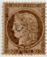 1872/75 FRANCIA CERERE 30 CENT. MARRONE SCURO USATO