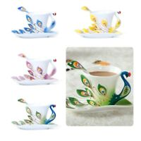 Peacock Porcelain Coffee Cup Set / Tea Cup Set for Daily Use and Wedding Present