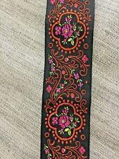 """Vintage 1960's Black &Orange Metallic Embroidered Jacquard Ribbon Trim 4yd +34"""""""