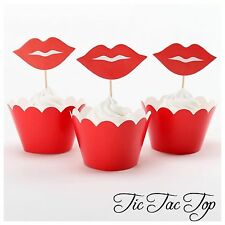 12pcs Red Hot Lips Cupcake Toppers + Wrappers. Pool Wedding Hens Party