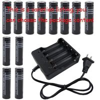 3.7V  18650 Li-ion Rechargeable Battery LED Flashlight Torch + Charger Set lot