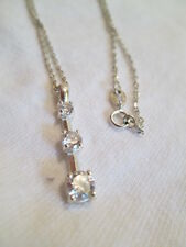 Vintage Sterling Silver .925 Cubic Zirconia Pendant on Chain Necklace Jewelry