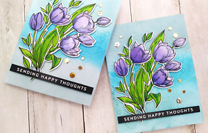 Handmade Greeting Card Sending Happy Thoughts Encouragement Purple Flowers A2