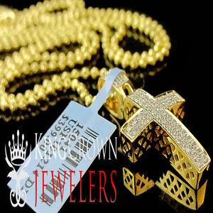 HOT Mini Real Genuine Diamond Cross Pendant Charm 10K Yellow Gold Finish + Chain