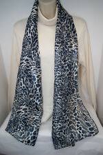 Scarf w/Sheer &Opaque Alternating Stripes Gray,Black &Cream Cat Animal Print NWT