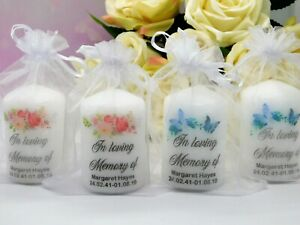 Personalised Memorial Remembrance In Memory Of Funeral Candle Favour 6cm x 4cm