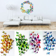 Fashion 3D Butterfly Sticker Art Design Decal Wall Stickers Home Decor 12pcs