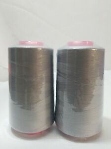 2-Pack 6000 Yards Each Spool Serger Sewing T27 Thread Cones Grey T27 S/2