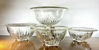 4 PCS VTG 1940's Federal Glass Star Clear Rolled Rim Footed Nesting Mixing Bowls