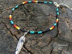 Bracelet Native American Anklet, Handmade Anklet, Howlite, Beaded Anklet, Ankle