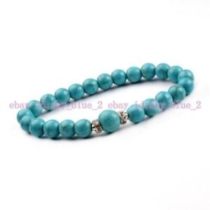 Fashion 8mm Turquoise Silver Round Ring Beaded Cuff Charm Bangle 7.5