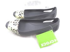 Women's Crocs sienna leopard fade flat Shoes SZ 11 graphite standard fit NEW