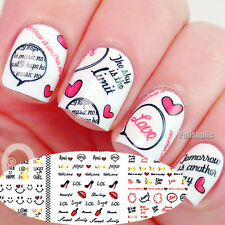3 Sheet/set Smile Face Bowknot Lip Love Heart Cloud Print Nail Art Water Decals