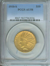 1910-S $10 Indian Eagle Pcgs Au58 Au-58 Scarce Date Stunning No spots !