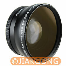 HIGH QUALITY 58mm 0.45x .45x WIDE Angle LENS with Macro LENS Black