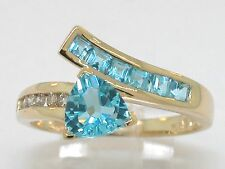 Blautopas Ring 585 Gelbgold 14Kt Gold natürlicher beh. Blautopasen  Brillanten
