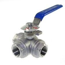 """DN15 G1/2"""" Female 3-Way L-Port 304 Stainless Steel Ball Valve Water Oil"""