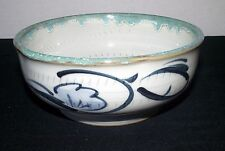 Bowl Spiral Teal Handmade Crafted Dish Blue Floral Hand Painted Pottery Drip